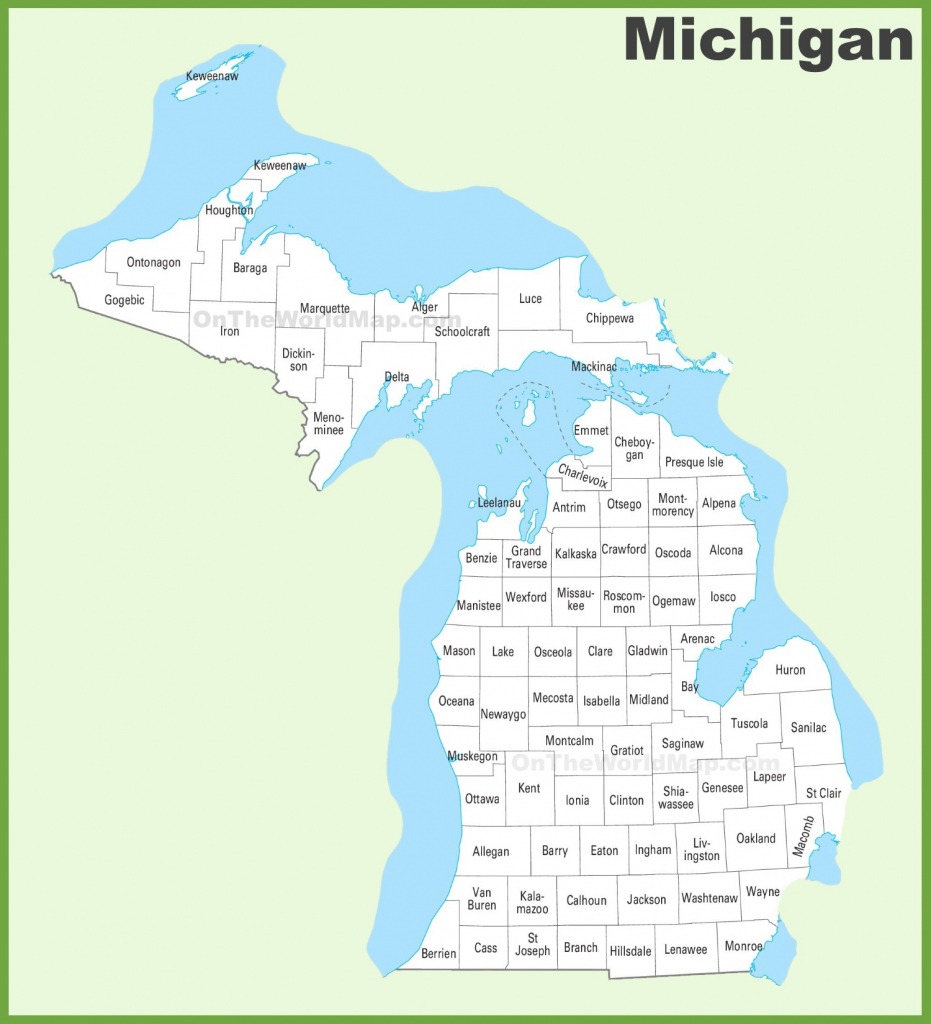 Michigan County Map pertaining to Michigan County Maps Printable