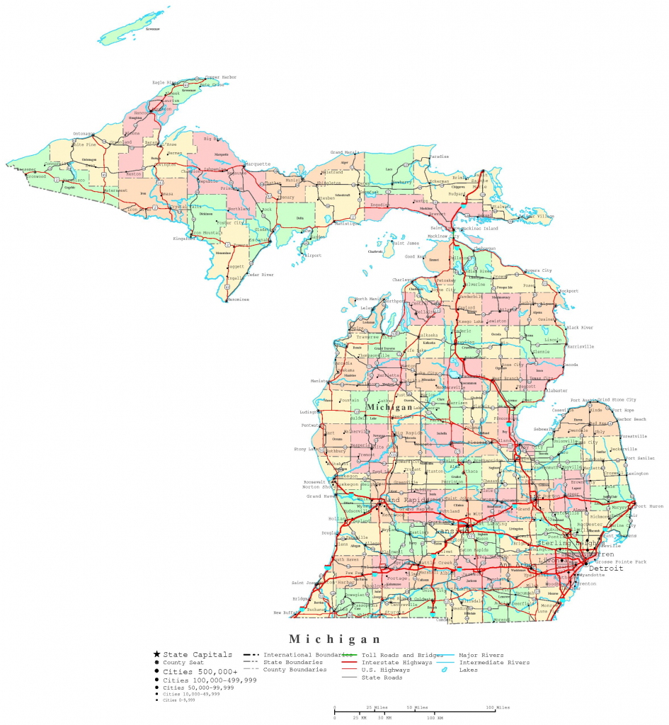 Michigan Printable Map with regard to Michigan County Maps Printable