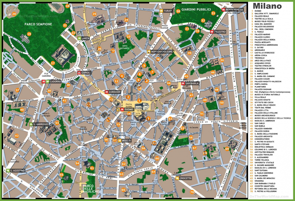 Milan Sightseeing Map inside Printable Map Of Milan
