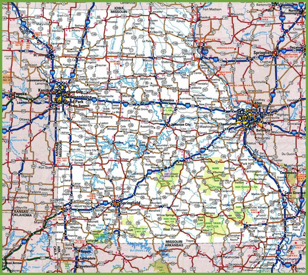 Missouri Road Map inside Printable Map Of Missouri