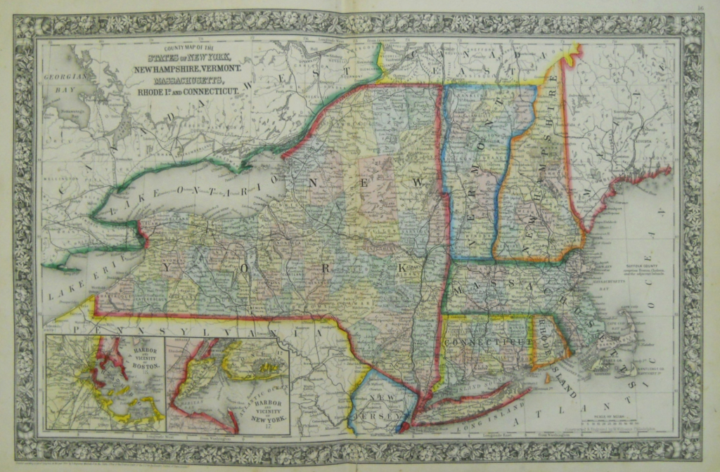 Mitchell New York And New England 1863 - Philadelphia Print Shop within Printable Map Of New England States