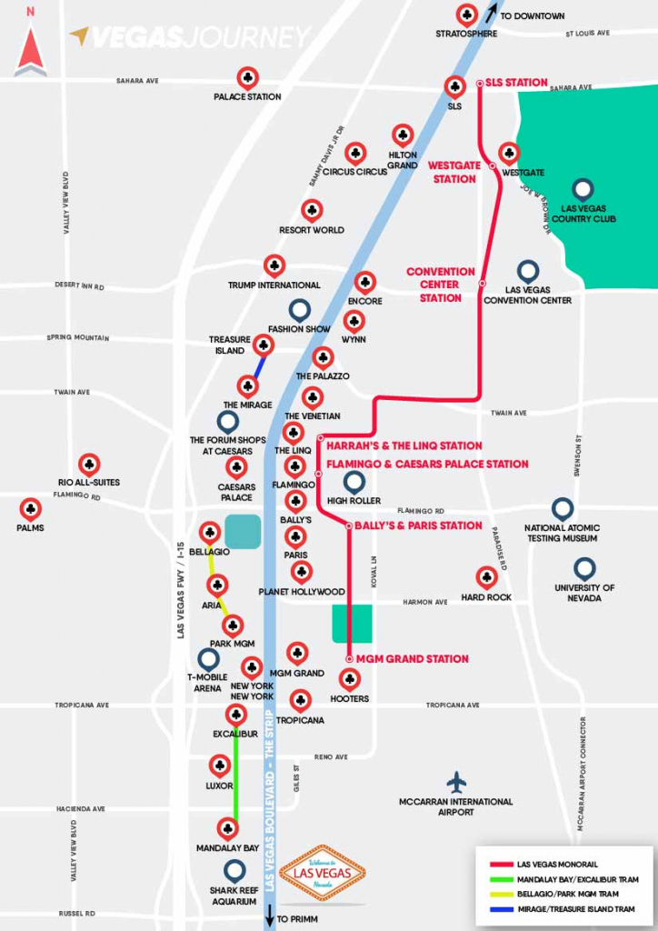 Monorail, Tram & Strip Map | Las Vegas Maps | Vegasjourney inside Printable Vegas Strip Map