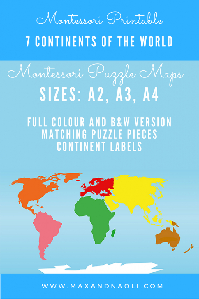 Montessori Puzzle Maps - 7 Continents Of The World | Montessori inside World Map Puzzle Printable