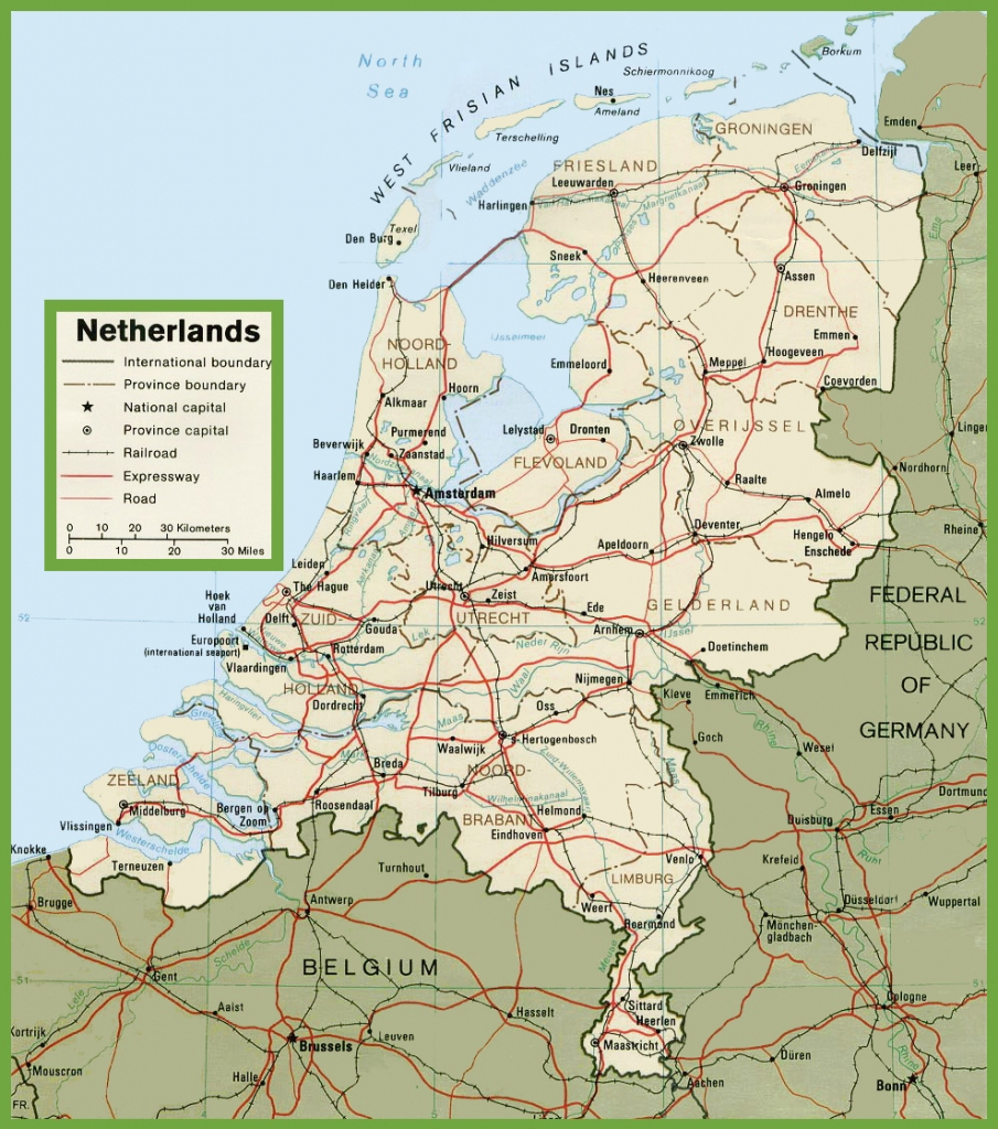 Netherlands Road Map for Printable Map Of The Netherlands