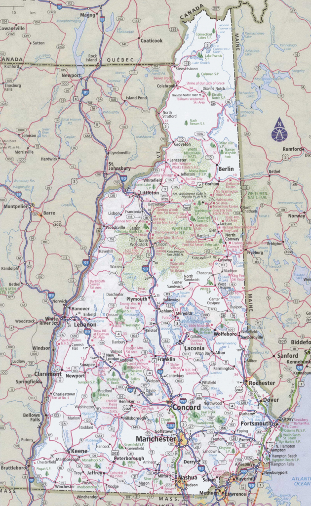 New Hampshire Road Map intended for New Hampshire State Map Printable
