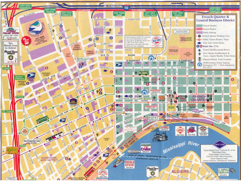 New Orleans Walking Map | Afputra pertaining to Printable French Quarter Map