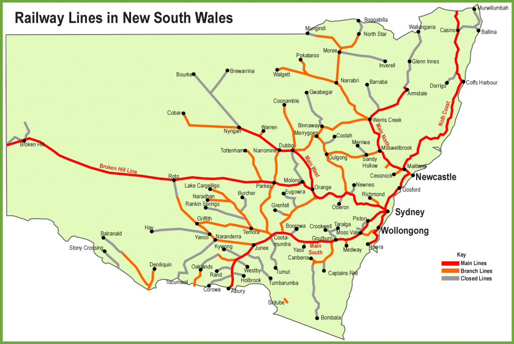 New South Wales Railway Map with regard to Printable Map Of Nsw
