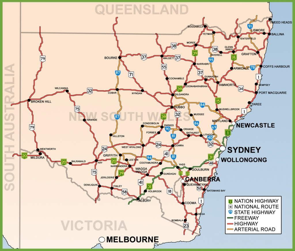 New South Wales Road Map for Printable Map Of Nsw