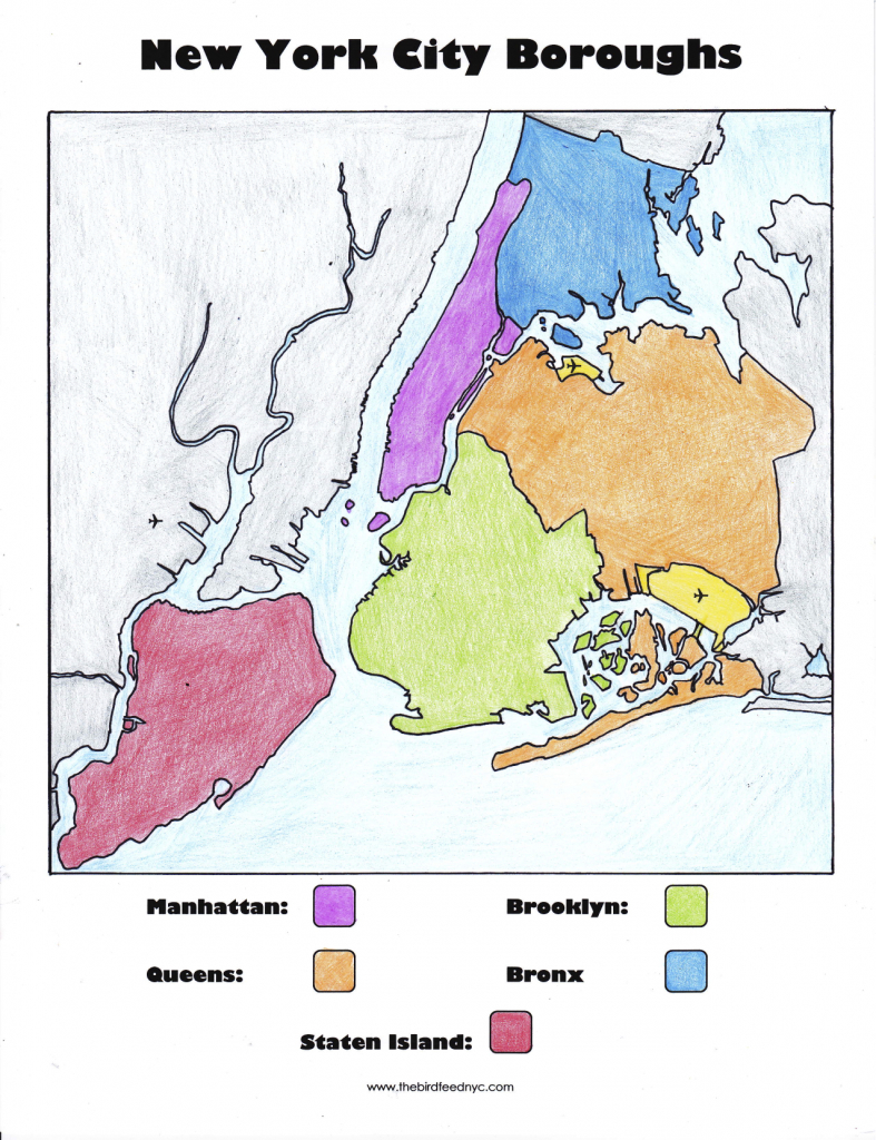 New York City Boroughs Coloring Activity For Kids for Map Of The 5 Boroughs Printable
