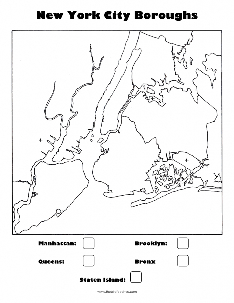 New York City Boroughs Coloring Activity For Kids with regard to Map Of The 5 Boroughs Printable