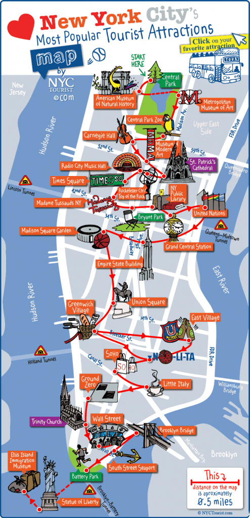 New York City Most Popular Attractions Map throughout Nyc Tourist Map Printable