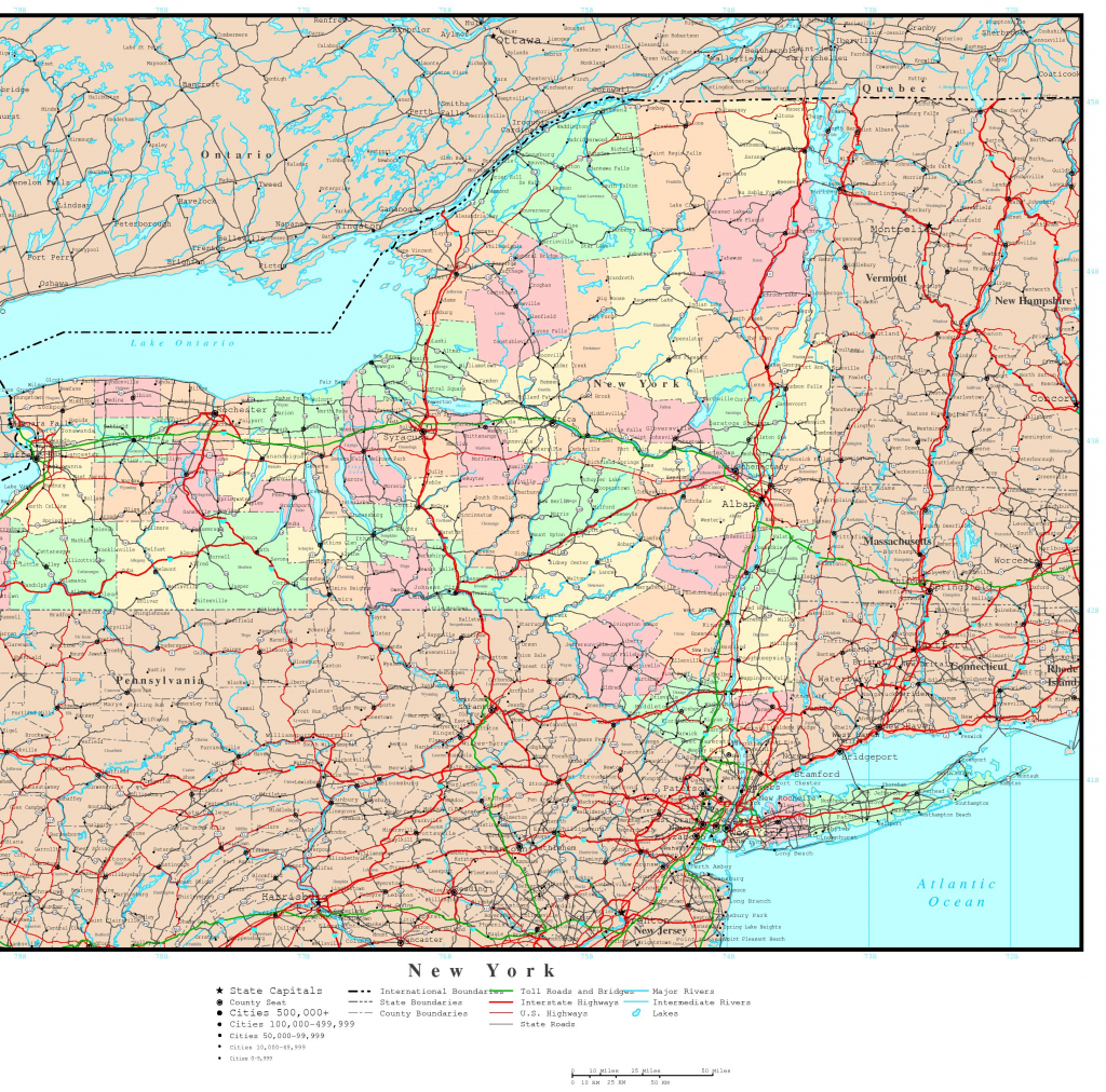 New York Political Map inside Printable Map Of New York State