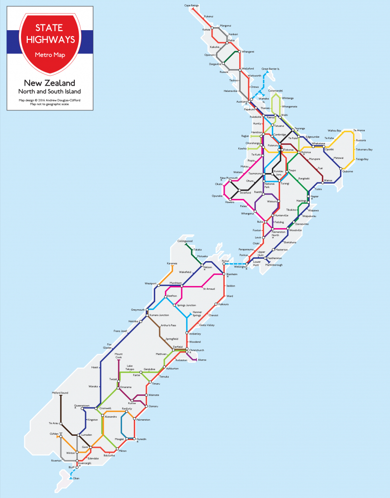 New Zealand State Highways Metro Map | The Map Kiwi throughout Printable Map Of New Zealand