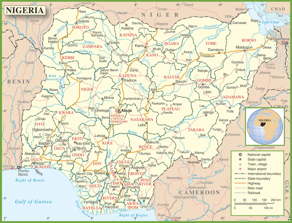Nigeria Political Map for Printable Map Of Nigeria