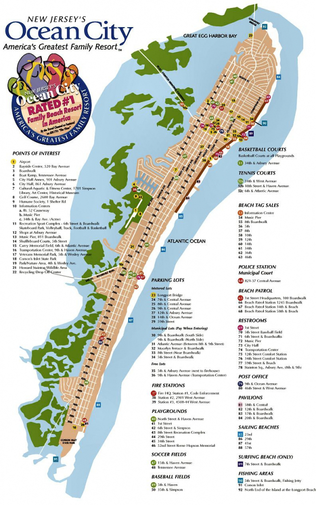 Ocean City Nj Street Map | Ocean City Nj | Pinterest | Ocean City for Printable Map Of Ocean City Md Boardwalk