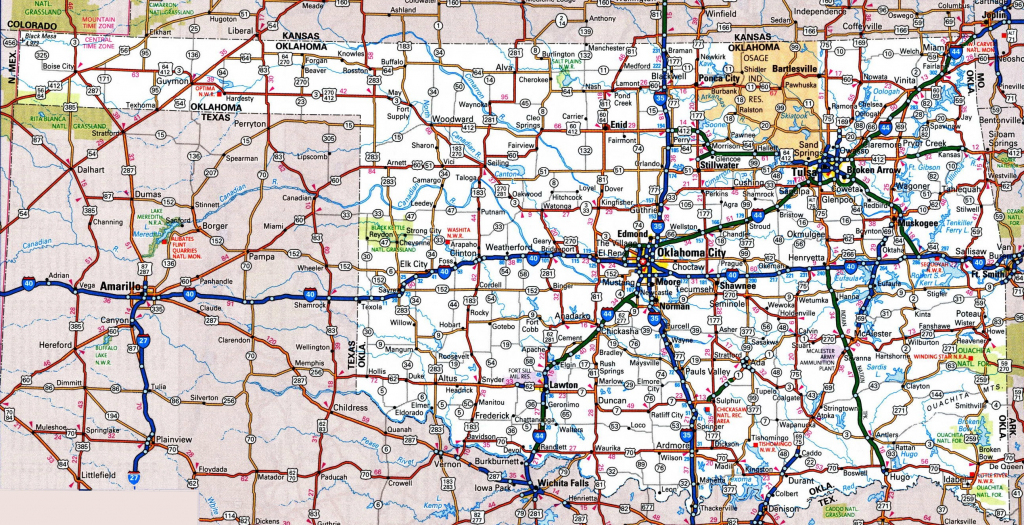 Oklahoma Road Map throughout Oklahoma State Map Printable