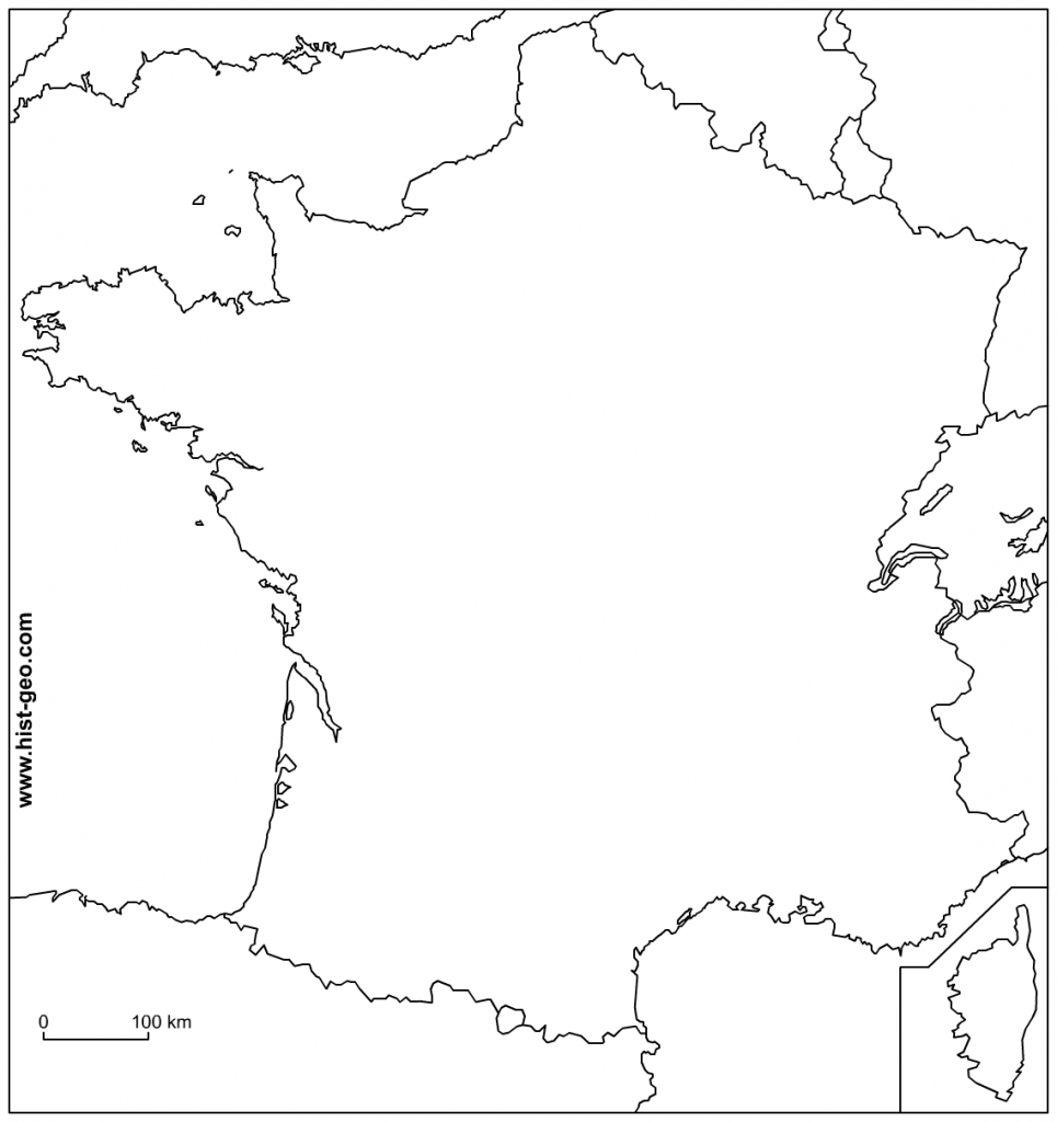Outline Map Of France With Borders inside Map Of France Outline Printable