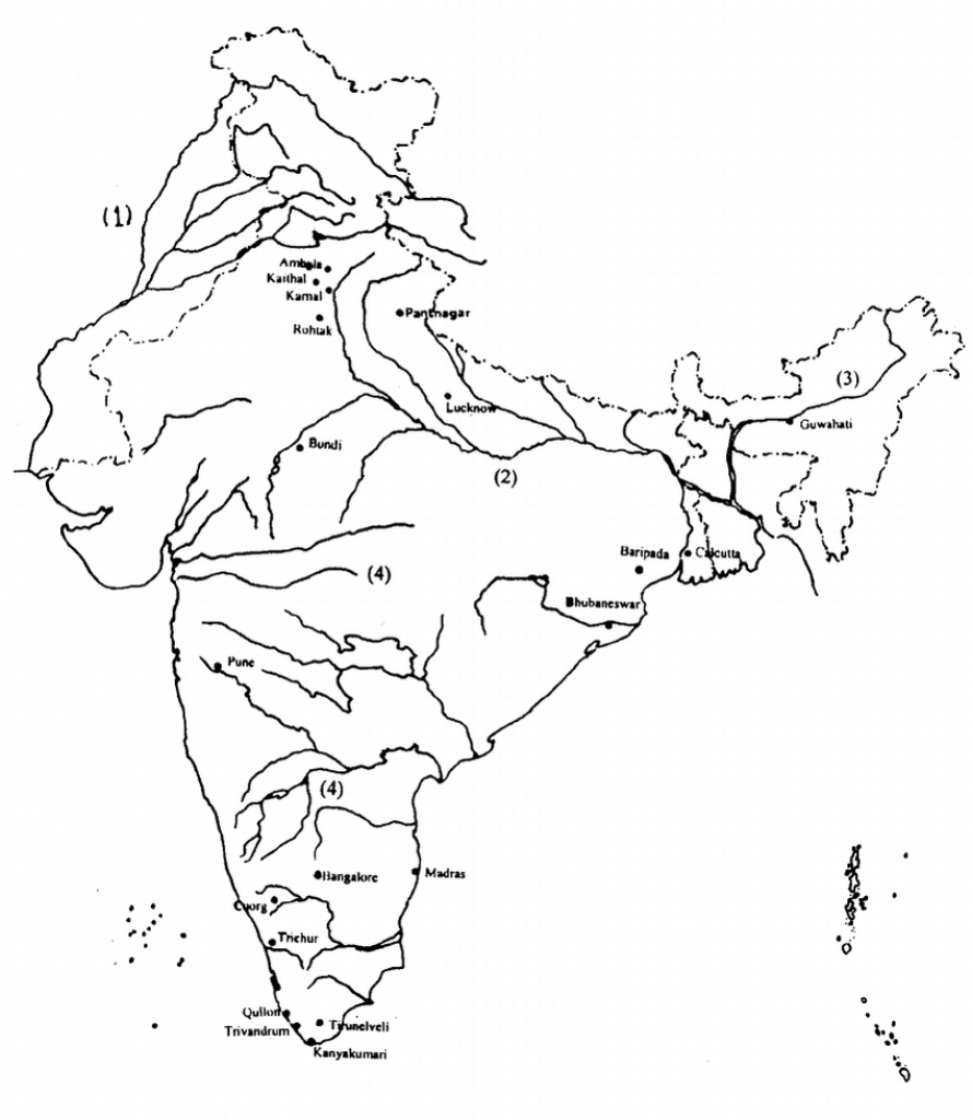 Outline Map Of India Showing The Major River Systems-Indus (1 with regard to India River Map Outline Printable
