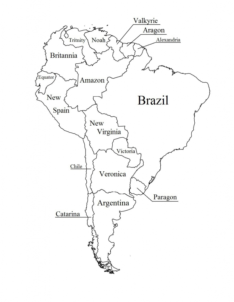 Outline Map Of South America Printable With Blank North And For New inside Printable Map Of Latin America