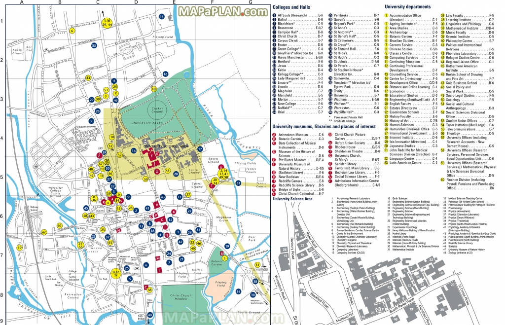 Oxford Maps - Top Tourist Attractions - Free, Printable City Street Map with regard to Printable Map Of Oxford