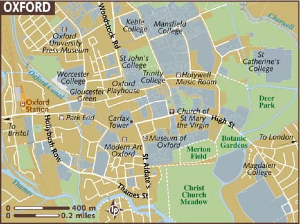Oxford Maps - Top Tourist Attractions - Free, Printable City Street Map within Free Printable City Maps