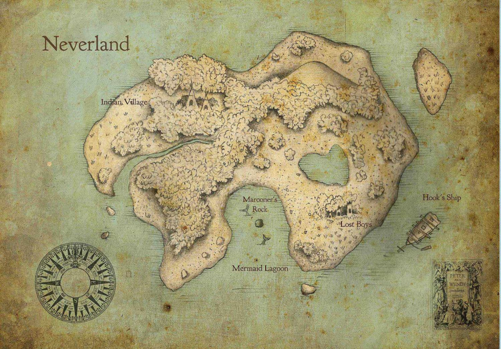 Peter Pan Neverland Map Print For $20.00 -- I Wanna Frame This And in Neverland Map Printable