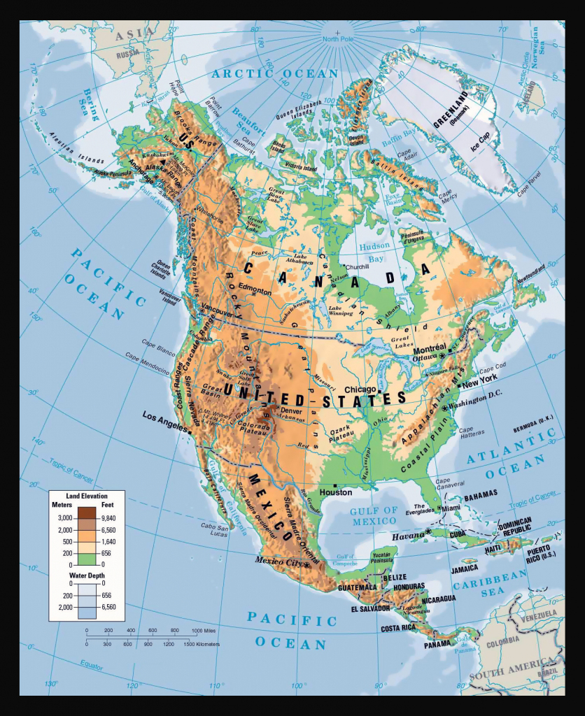 Physical Map Of North America. North America Physical Map | Vidiani pertaining to Printable Physical Map Of North America
