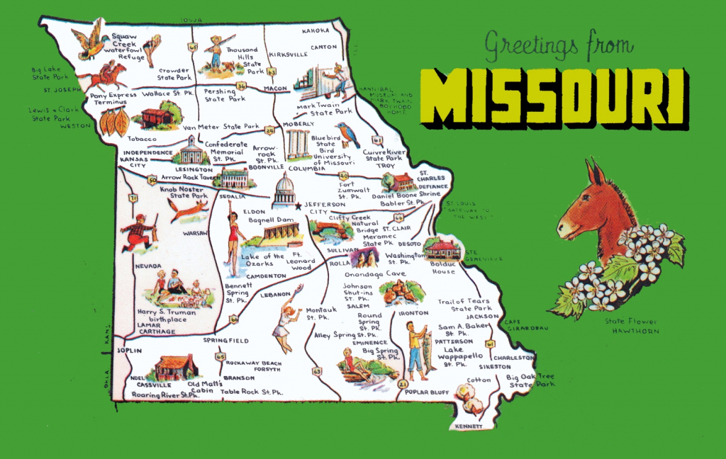 Pictorial Travel Map Of Missouri regarding Printable Map Of Missouri