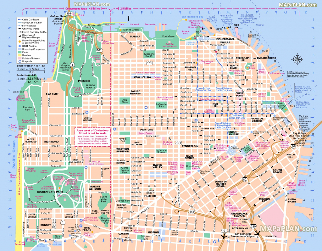 Pinricky Porter On Citythe Bay | Tourist Map, San Francisco throughout Printable Map San Francisco Cable Car Routes