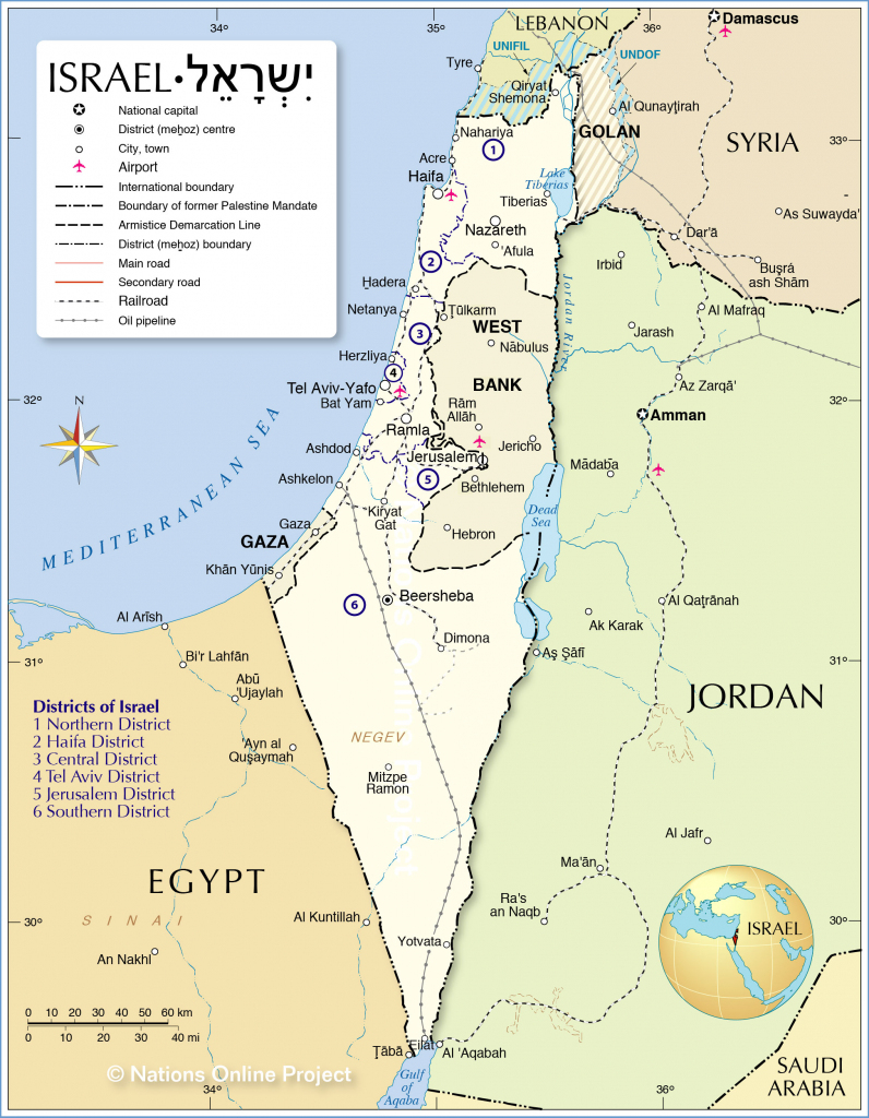 Political Map Of Israel - Nations Online Project regarding Printable Map Of Israel