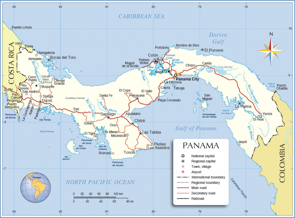 Political Map Of Panama - Nations Online Project regarding Printable Map Of Panama