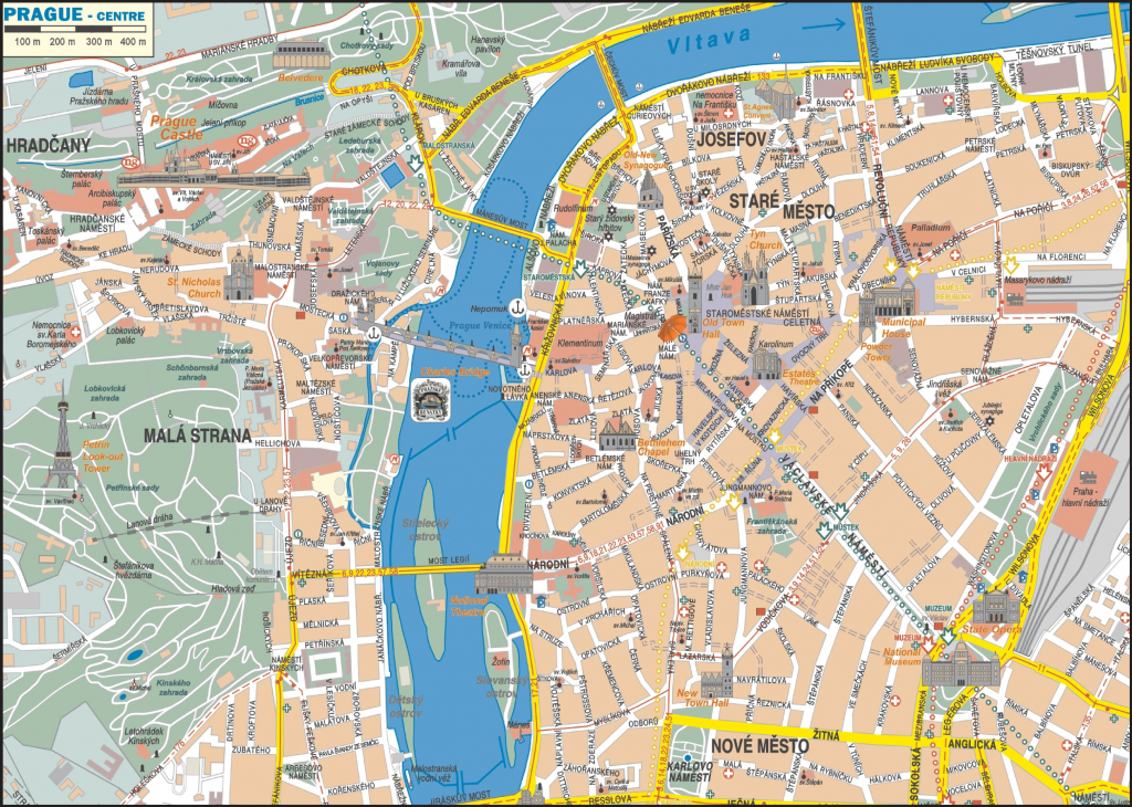 Prague City Center Map with Prague City Map Printable