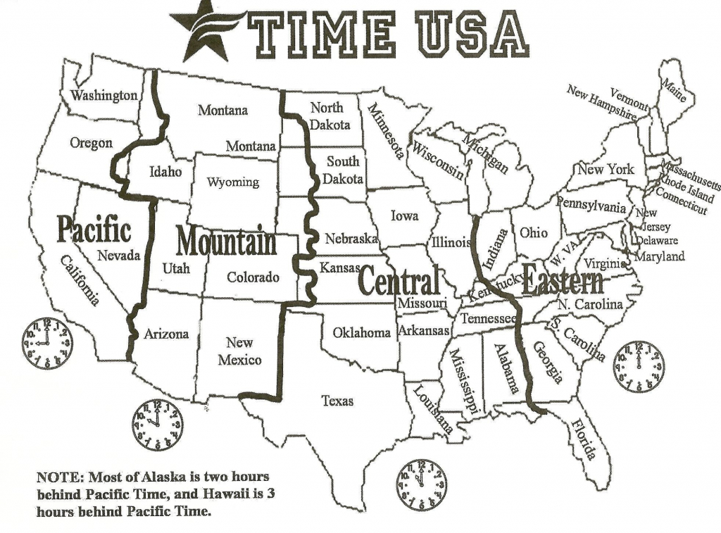 Printable Black And White Us Time Zone Map Inspirationa Printable with regard to Free Printable Us Timezone Map With State Names