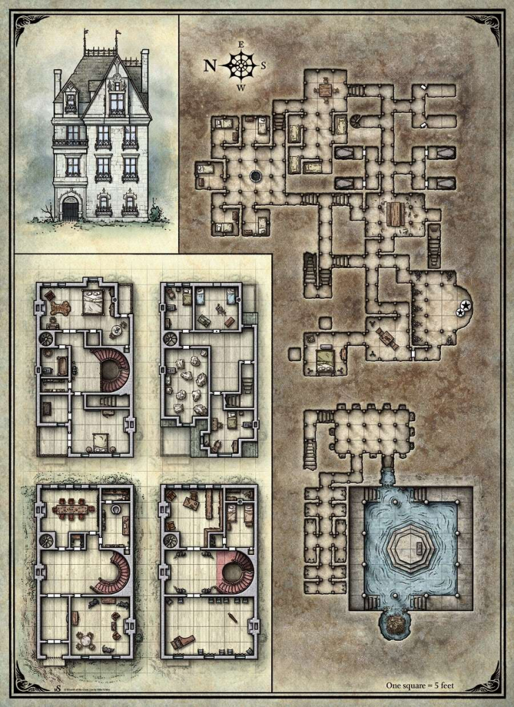 Printable Death House Maps - Dungeon Masters Guild | Dungeon Masters for D&d Printable Maps
