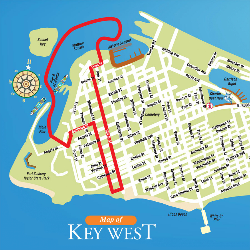Printable Map Of Key West Florida Streets Hotels Area Attractions Pdf with Printable Street Map Of Key West Fl