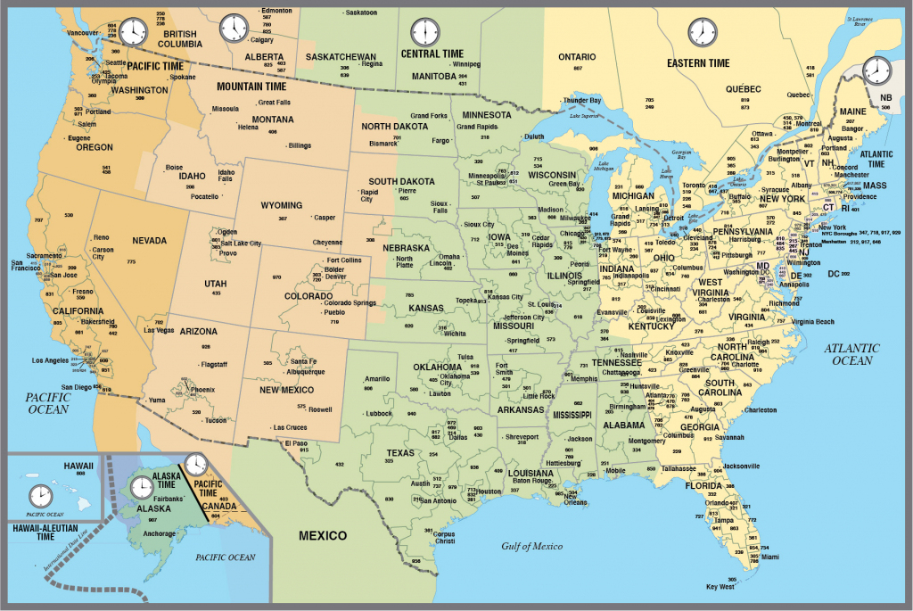 Printable Map Of The Usa With Time Zones with Printable Us Map With Time Zones And Area Codes