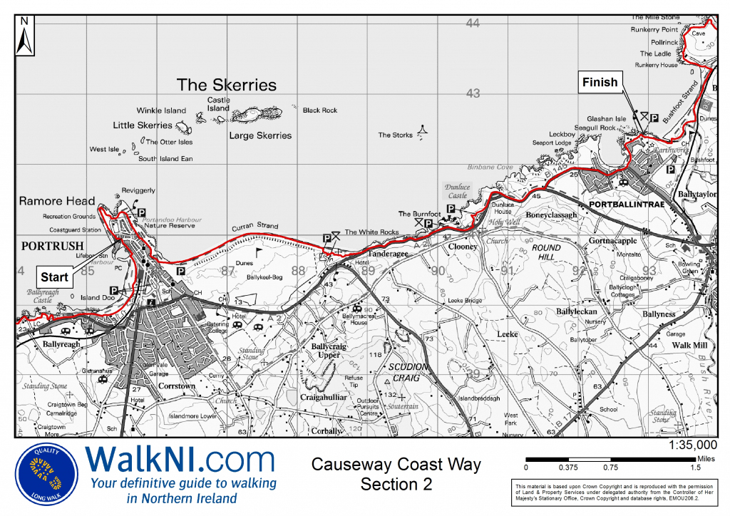 Printable Maps - Causeway Coast Way - Ulster Way inside Printable Os Maps