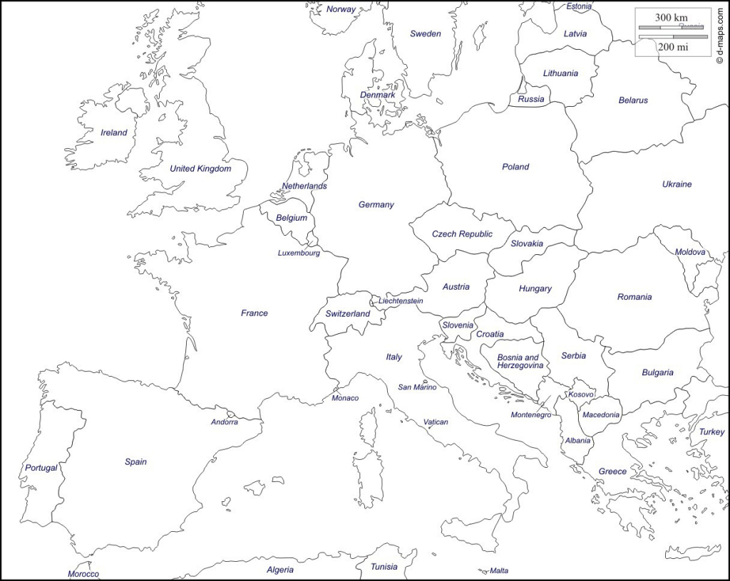 Printable Maps Of Europe - Earthwotkstrust for Europe Map Black And White Printable
