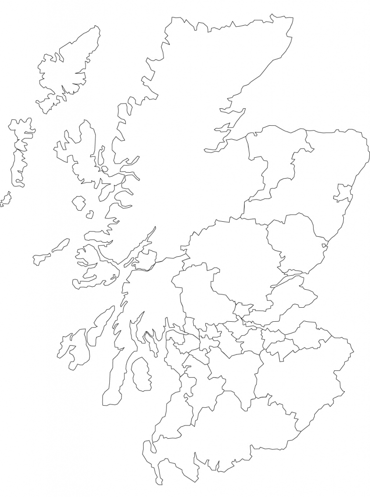 Printable Outline Map Of Scotland And Its Districts. | The Story Of in Blank Map Of Scotland Printable