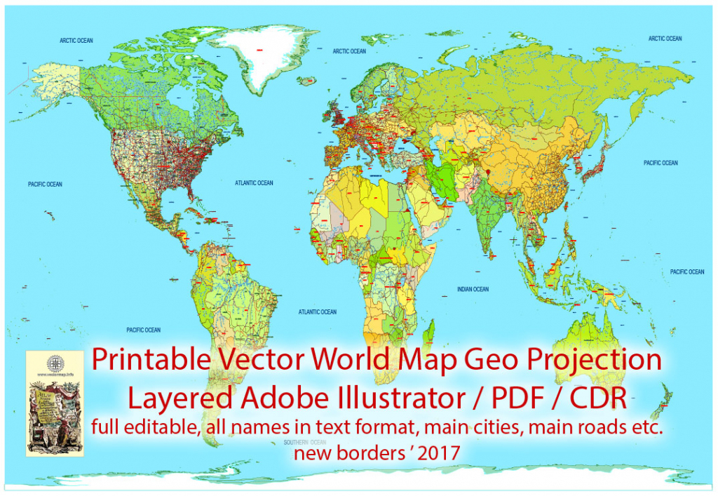 Printable Pdf Vector World Map Colored Political Updated 2017 Editable in World Map With Cities Printable
