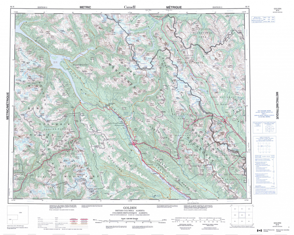 Printable Topographic Map Of Golden 082N, Ab - Printable Topo Maps regarding Printable Topographic Maps