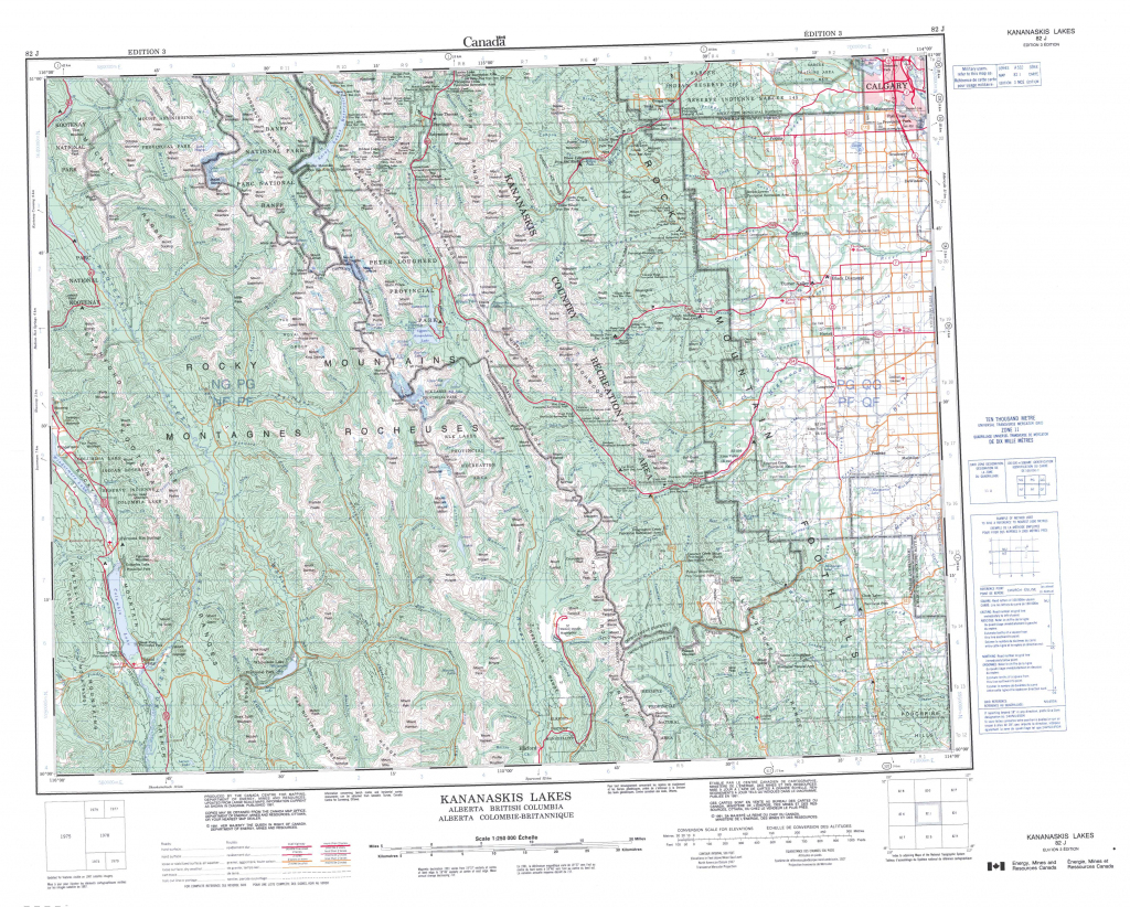 Printable Topographic Map Of Kananaskis Lakes 082J, Ab with regard to Free Printable Topographic Maps