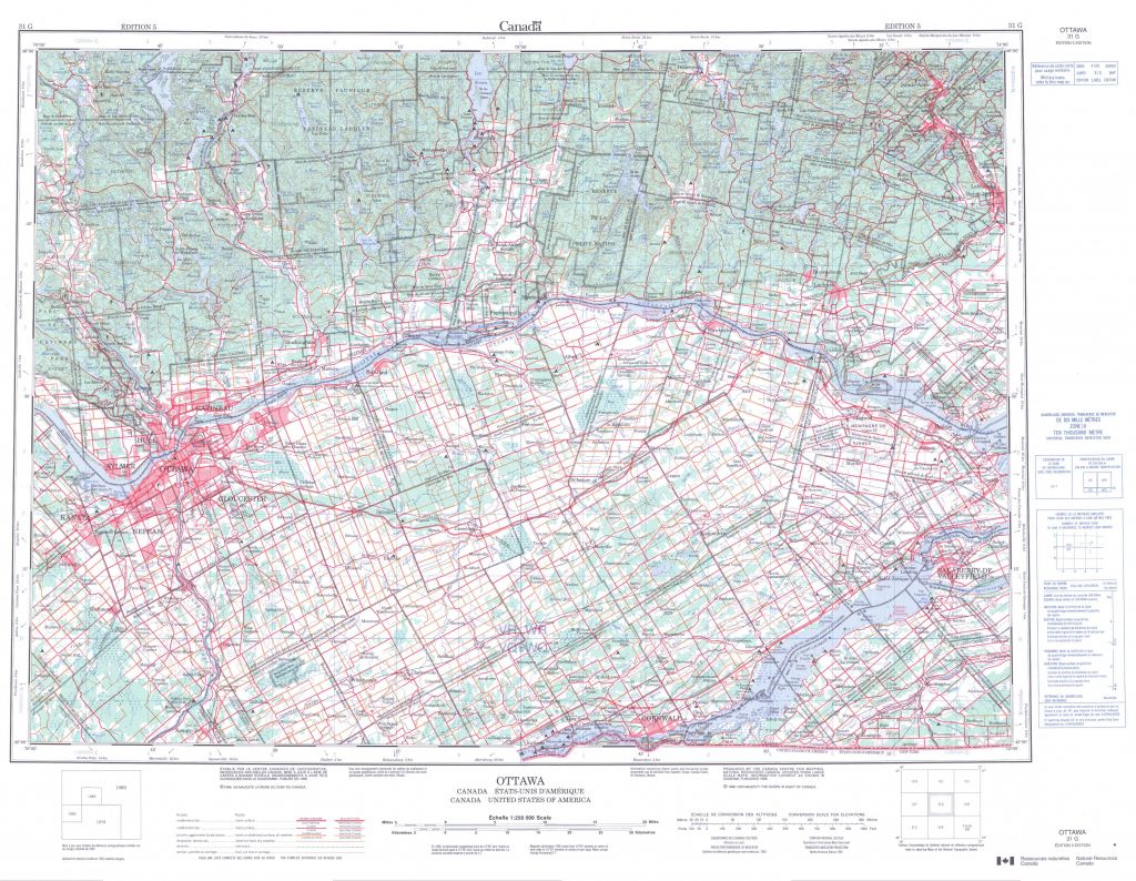 Printable Topographic Map Of Ottawa 031G, On for Printable Map Of Ottawa
