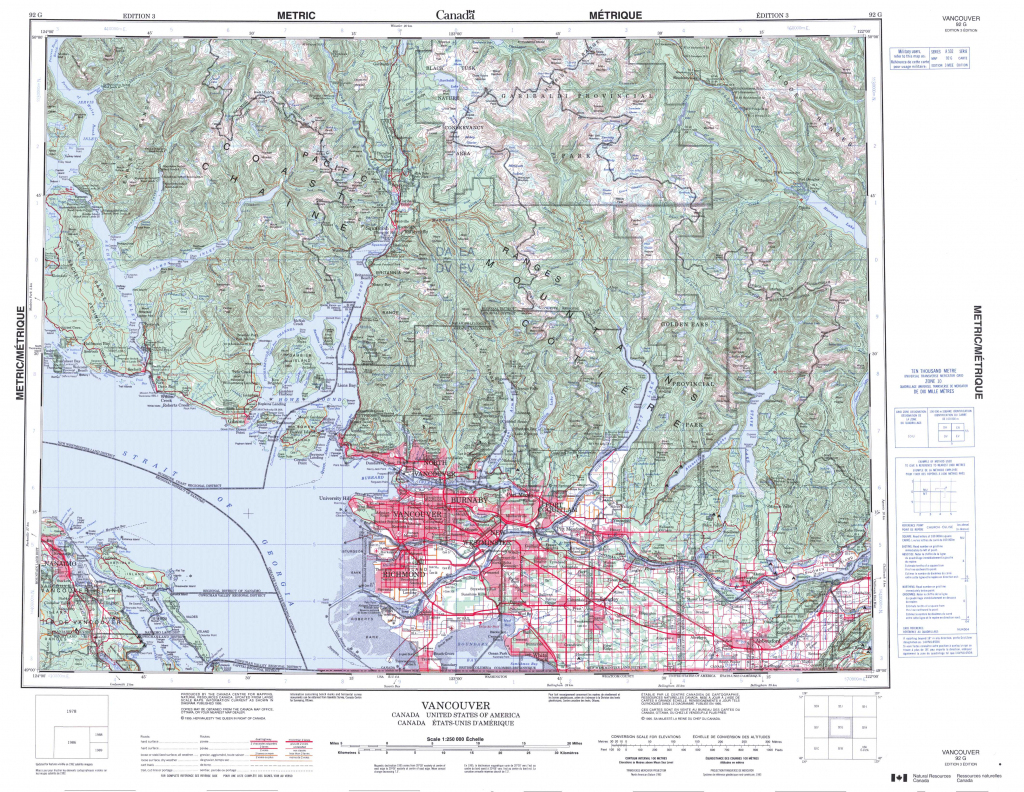 Printable Topographic Map Of Vancouver 092G, Bc in Topographic Map Printable