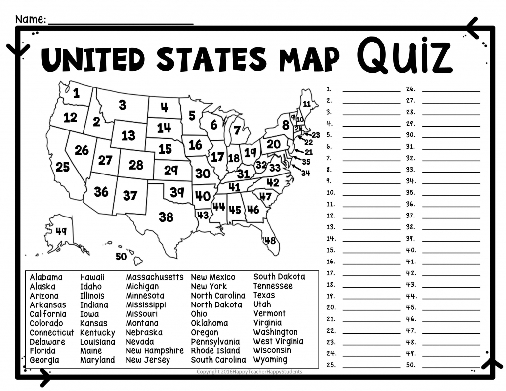 Printable Us State Map Blank Blank Us Map Quiz Printable At Fill In in Blank Us Map Quiz Printable