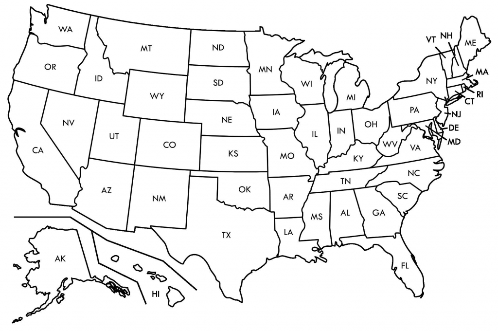 Printable Us State Map Blank Us States Map Awesome United States Map for Printable Blank Us Map With State Outlines