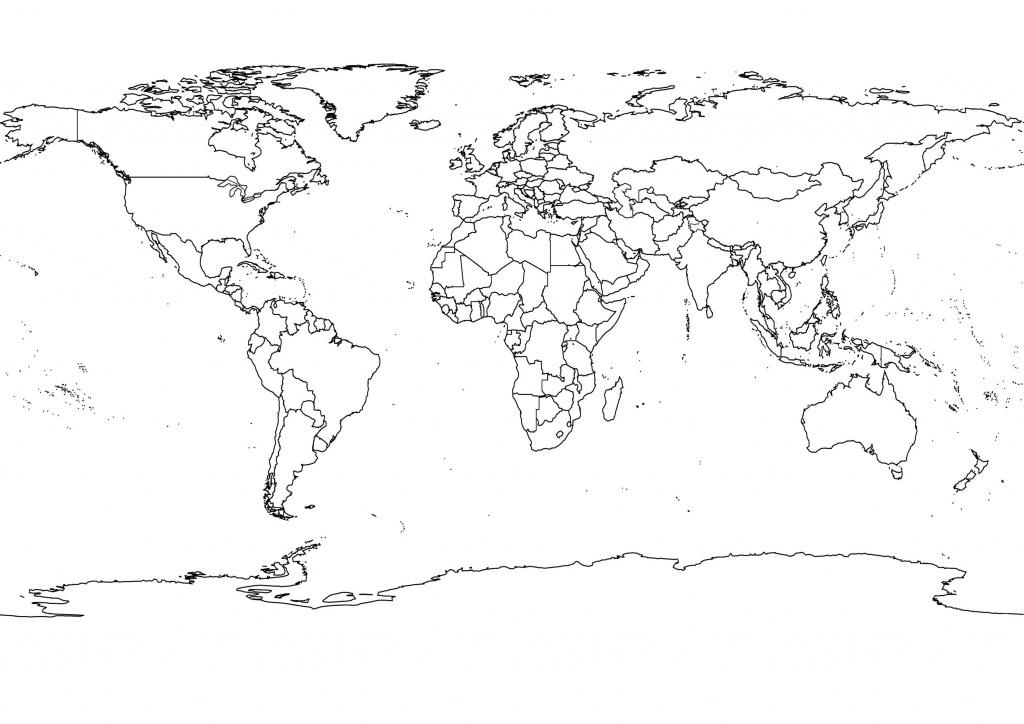 Printable World Map Black And White Detailed Outline Political within World Map Black White Printable