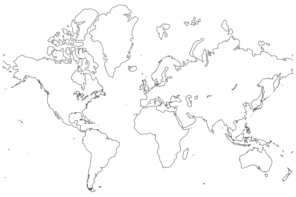 Printable World Maps In Black And White And Travel Information pertaining to Full Page World Map Printable
