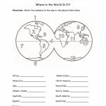 Printables Continents And Oceans Of The World Worksheet In Printable Map Of Oceans And Continents
