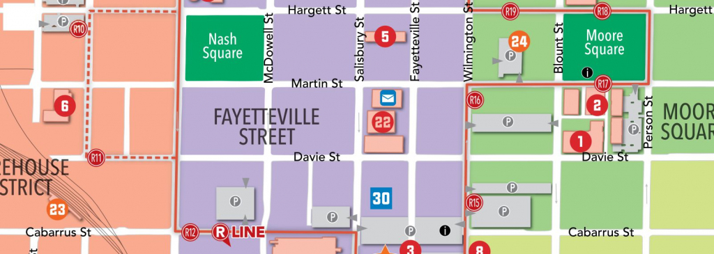 Raleigh, N.c., Maps | Downtown Raleigh Map with Printable Map Of Downtown Raleigh Nc